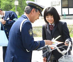 青森県野辺地署で自転車安全利用キャンペーン