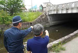 岐阜県岐阜南署が防災モニターと災害危険箇所を点検