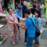 群馬県長野原署がミス日本酒と飲酒運転・特殊詐欺被害防止のキャンペーン