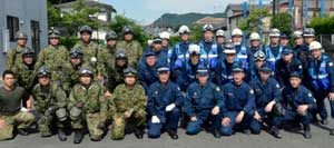 宮崎県えびの署は警察と自衛隊の災害対応合同訓練を実施