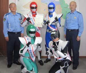 御当地ヒーローの「エコ戦隊カンキョウマン」が宮城県大和署の交通安全大使に就任