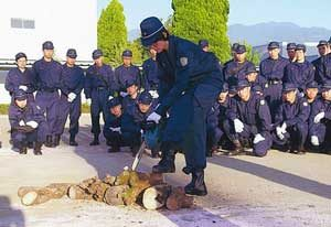 山梨県警察学校で大規模災害対策警備訓練を実施