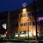 広島県呉署音戸分庁舎に交通安全のイルミネーションともる