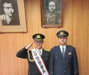 鹿児島県鹿児島中央署で俳優・田上晃吉さんを一日警察署長に委嘱