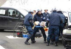 北海道警釧路方面本部で自動車専用道路で多重衝突事故想定の現場対応訓練