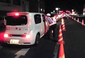 福岡県豊前署と大分県中津署が県境で飲酒運転の大規模検問