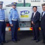 宮城県岩沼署がトラック貼付の交通安全マグネットシート作製