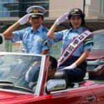 愛知県田原署では元アナウンサー・本仮屋リイナさんと交通安全防止キャンペーン