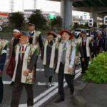 愛知県南署で奉行姿の交通安全・防犯パレード