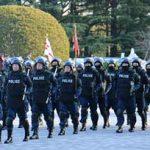 警視庁で威風堂々の年頭部隊出動訓練