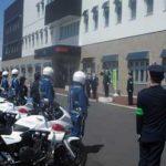 北海道釧路方面帯広署では機動警察隊と合同で子供見守りの出動式