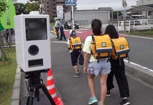 岐阜県警が登校日に可搬式速度違反自動取締装置で取締り
