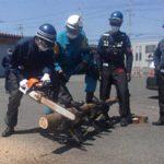滋賀県高島署では災害発生時の総合訓練