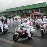 山形県警交機隊ではあおり運転の交通指導取締り出発式