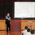 広島県福山北署の交番所員が中学・高校で防犯指導
