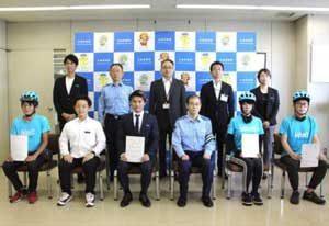 広島県警が飲食物配達代行サービス業者を自転車マナーアップ推進事業所に指定