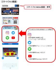 大阪府警ホームページのSNS表示がリニューアル