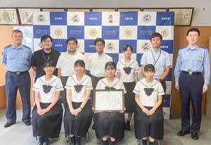 福岡県東署が啓発動画制作協力した高校生に感謝状