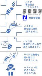 奈良県奈良署がバイク事故防止のピクトグラムを作製